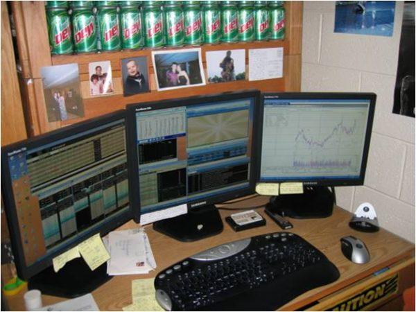 My Triple Monitor Day Trading Stocks Dorm Setup