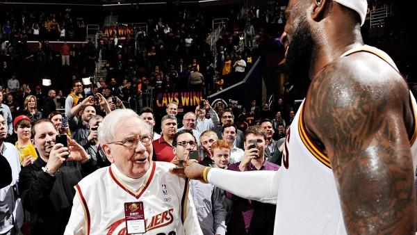 Warren Buffett talking to LeBron James post-game