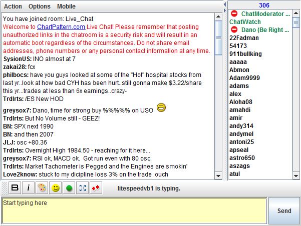 Dan Zanger Subscriber Chat Room Screenshot