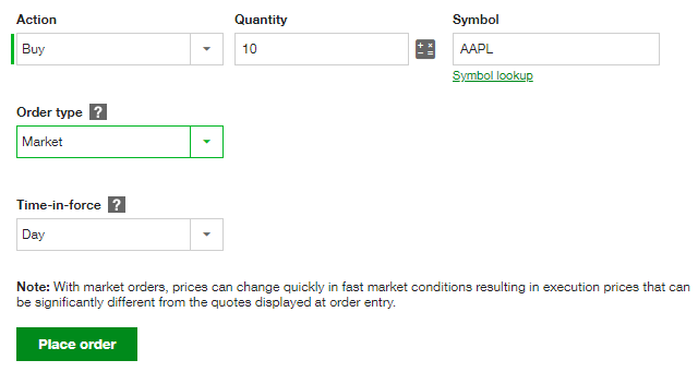 Stock Market Order Type Example for AAPL